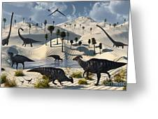 Dinosaurs Gather At A Life Saving Oasis Greeting Card