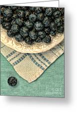 Dish Of Fresh Blueberries Greeting Card