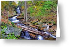 Distant Ozone Falls And Rapids In Autumn Greeting Card