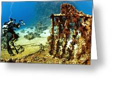 Diver Taking Photographs Underwater Greeting Card