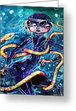 Diving With Serpent Greeting Card