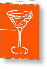 Do Not Panic - Drink Martini - Orange Greeting Card