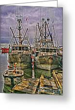 Docked Fishing Boats Hdr Greeting Card