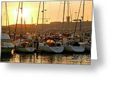 Docked Yachts Greeting Card