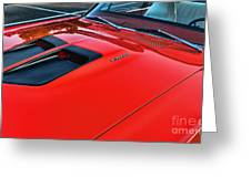 Dodge Super Bee Hood  In Red Greeting Card