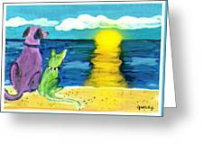 Dog And Cat Sunset Greeting Card