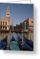 Doges Palace And San Marcos Bell Tower Greeting Card