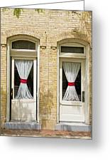 Door And Curtains Greeting Card