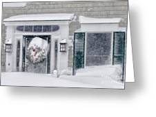 Door And Window Of Cape Cod Home During Blizzard Of '05 Greeting Card