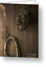 Door Knocker Of The Basilica Saint-julien. Brioude. Haute Loire. Auvergne. France. Greeting Card