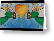 Double Angels With Heart Greeting Card