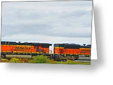 Double Bnsf Engines Greeting Card