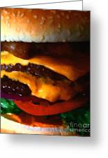 Double Cheeseburger With Bacon - Painterly Greeting Card