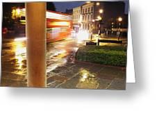 Double Decker Blur In The Rain Greeting Card