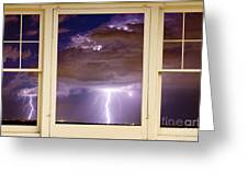 Double Lightning Strike Picture Window Greeting Card