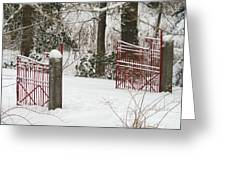 Double Red Iron Gates Greeting Card