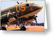 Douglas C47 Skytrain Military Aircraft . Painterly Style . 7d15774 Greeting Card by Wingsdomain Art and Photography