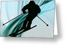 Downhill Skiing On Icy Ribbons Greeting Card