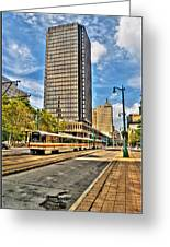 Downtown Buffalo Metro Rail  Heading To The Erie Canal Harbor Greeting Card