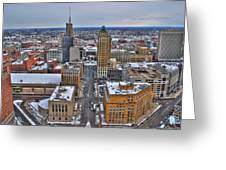 Downtown Court St Winter Scene Greeting Card