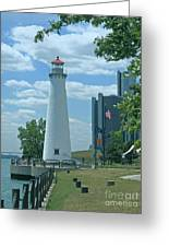 Downtown Detroit Lighthouse Greeting Card