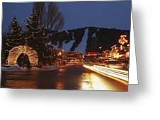 Downtown Jackson Hole At Night Greeting Card