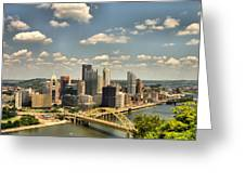 Downtown Pittsburgh Hdr Greeting Card by Arthur Herold Jr