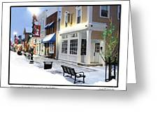 Downtown Waterville Decorated For The Holidays Greeting Card