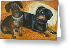 Doxie Duo Greeting Card by Susan Hanlon