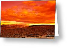 Dramatic Red Sunset At Desert Greeting Card by Anna Om