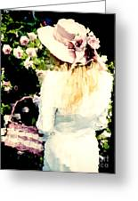 Dreamy Cottage Chic Girl Holding Basket Roses Greeting Card