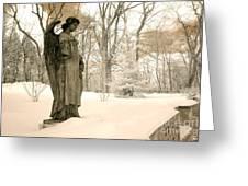 Dreamy Surreal Angel Sepia Nature Scene Greeting Card