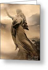 Dreamy Surreal Guardian Angels Ascent To Heaven Greeting Card