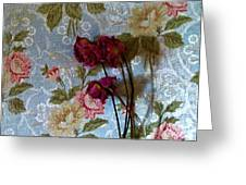 Dried Roses Against The Wallpaper Greeting Card