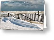 Drifting Snow Along The Beach Fences At Nauset Beach In Orleans  Greeting Card
