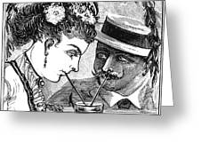 Drinking, 1875 Greeting Card