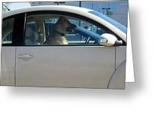 Driving Dog Greeting Card