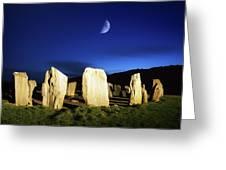 Drombeg, County Cork, Ireland Moon Over Greeting Card