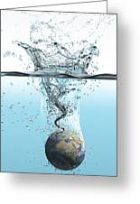 Drowning Earth, Conceptual Image Greeting Card