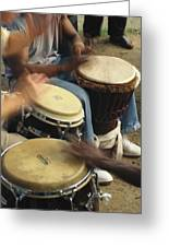 Drummers Of Varied Backgrounds Join Greeting Card
