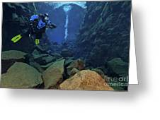Dry Suit Divers In Gin Clear Waters Greeting Card