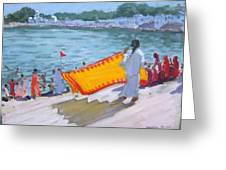 Drying Sari Pushkar  Greeting Card