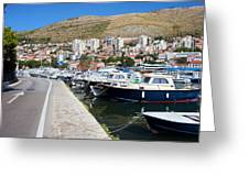 Dubrovnik Cityscape And Harbor Greeting Card