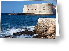 Dubrovnik Fortification And Bay Greeting Card