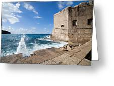 Dubrovnik Fortification And Pier Greeting Card