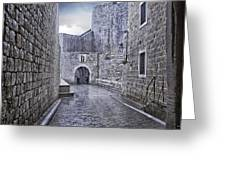 Dubrovnik In The Rain - Old City Greeting Card