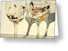 Ducks On Wineglasses Greeting Card