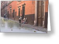 Ducks Swimming On Calle Reloje Greeting Card