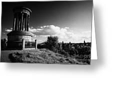 Dugald Stewart Monument Calton Hill With View Of Edinburgh Skyline Scotland Uk United Kingdom Greeting Card