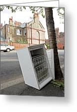 Dumped Refrigerator Greeting Card by Carlos Dominguez